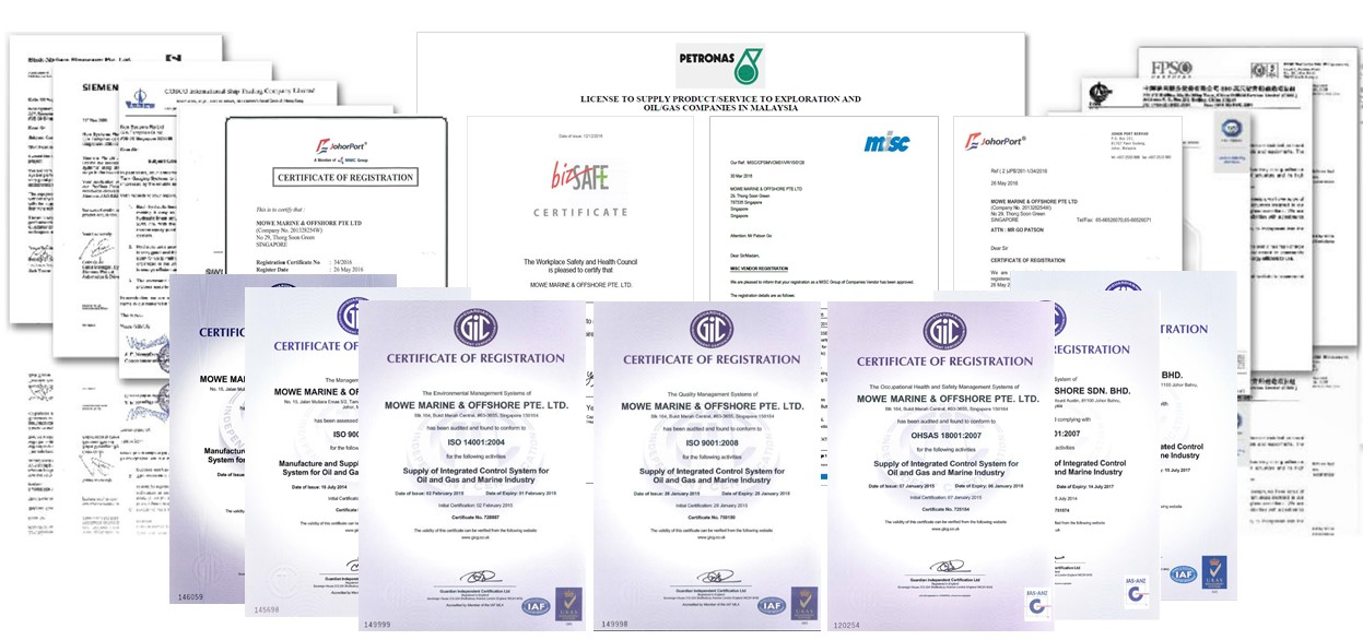 Mowe Accreditations Certificates