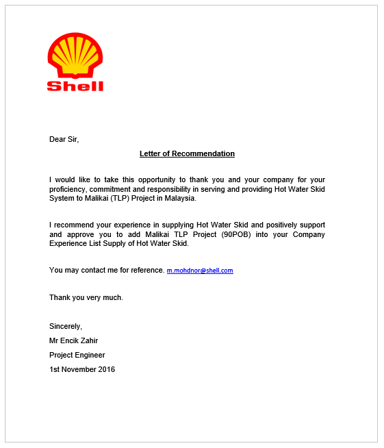 Shell Reference Letter to Mowe